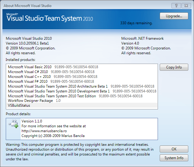 Visual Studio 2010 about window with VSbuildStatus addin
