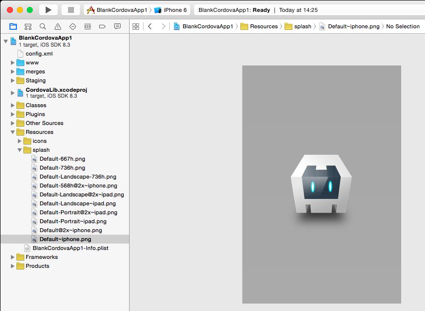 Splash screen image in the XCode project generated by Cordova.