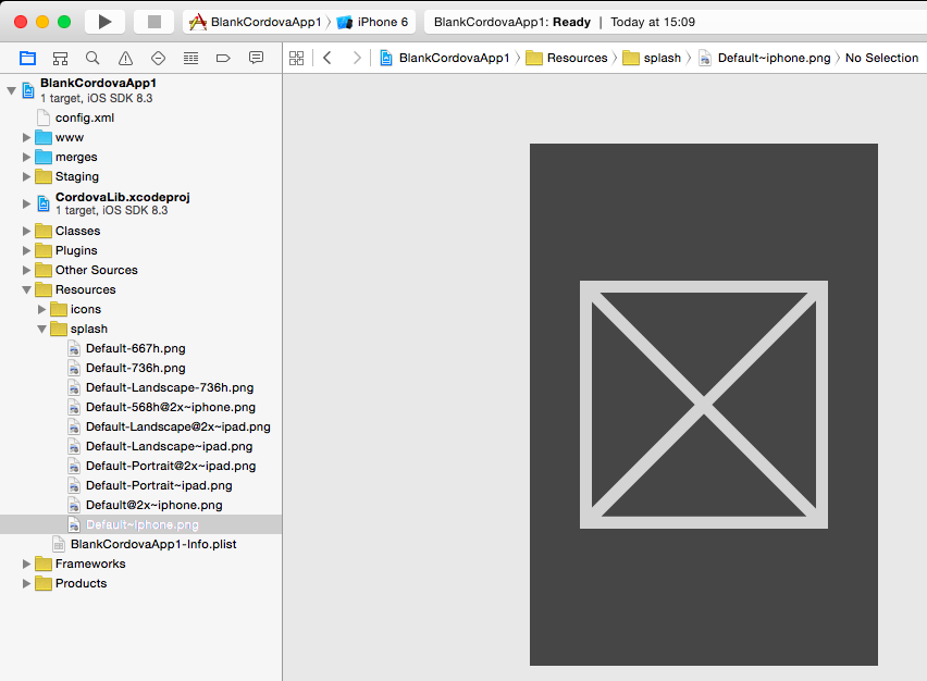 XCode project with correct splash screen images.