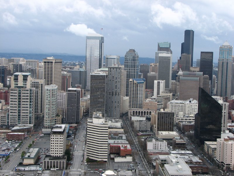 Seattle downtown seen from the observation deck of the Space Needle
