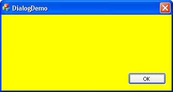 Dialog box with yellow background.