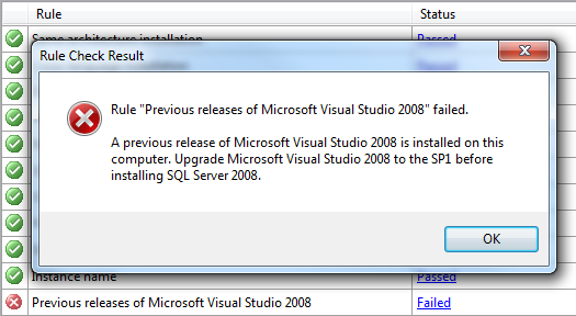 Rule Previous releases of Microsoft Visual Studio 2008 failed.