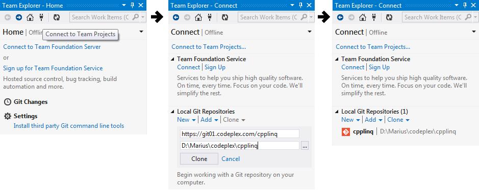 Visual Studio 2012 and git